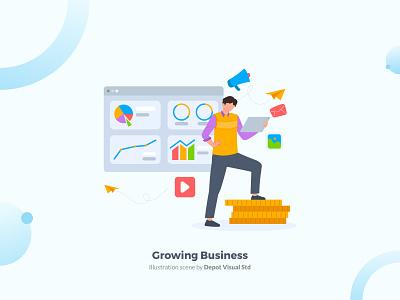 Growing Business Illustration Scene profit startup flat character people uiux website growing business illustration