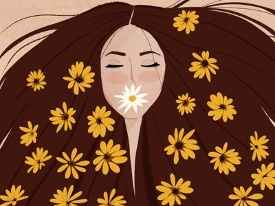Flourishing procreate woman illustration woman portrait flower illustration floral flourishing flowers illustration digital painting digital illustration