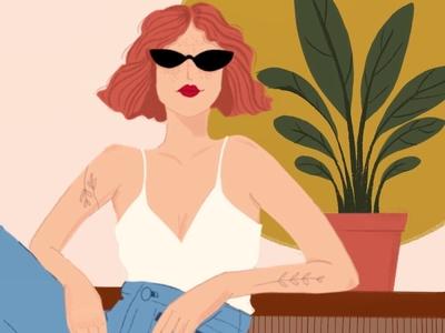 Jeanne sunny tattoos redlips plant plants summer procreate woman illustration illustration digital painting digital illustration