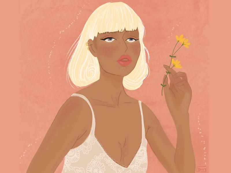A Dreamy Afternoon texture blondie flower dreamy woman portrait woman illustration procreate illustration digital painting digital illustration