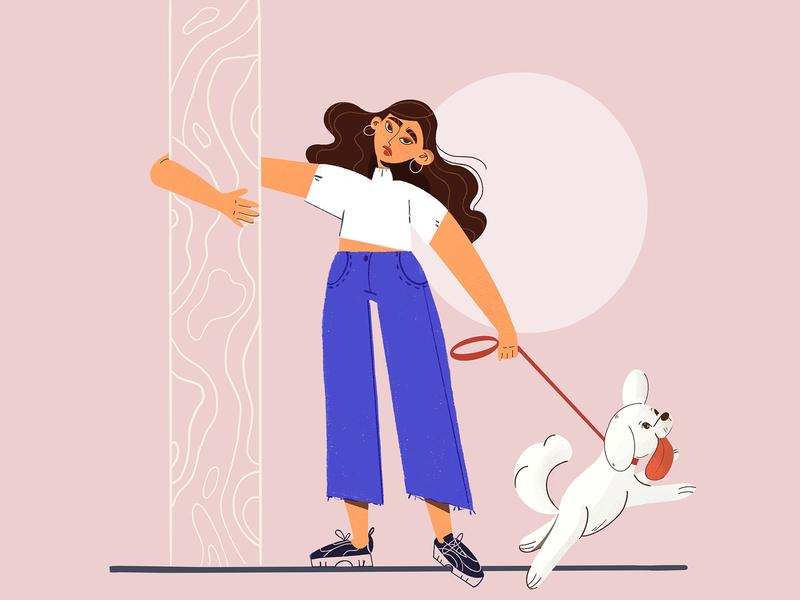 Morning Walks character design dog walking dog procreate illustration digital illustration