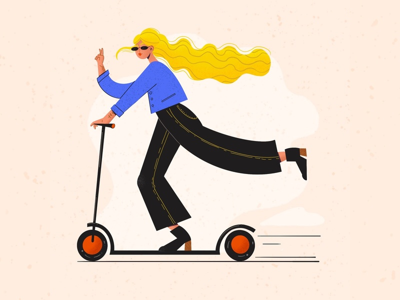 Scootering fashion scooter woman illustration procreate digital illustration illustration