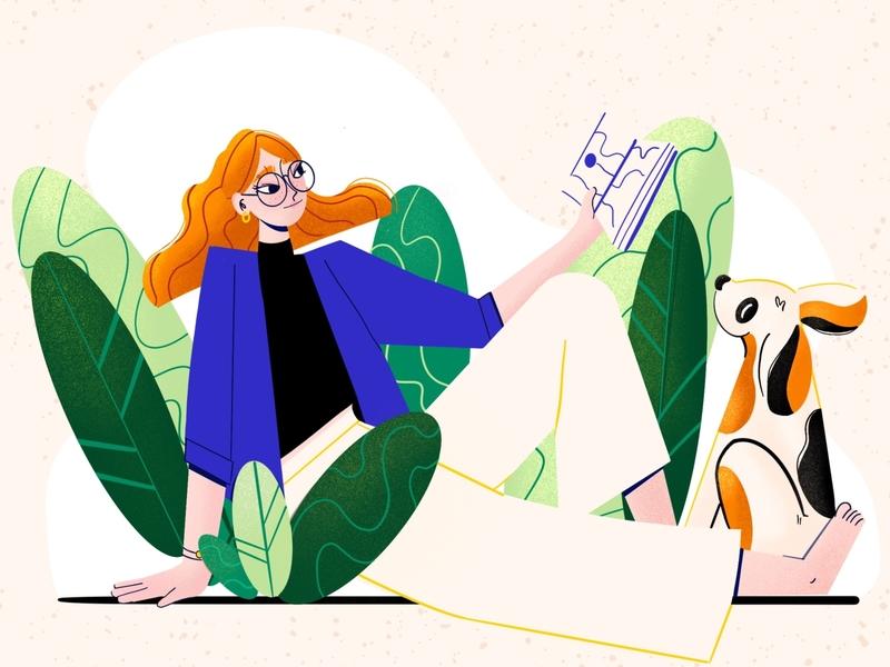 Park reading park leaves plants reading book dog digital illustration illustraion