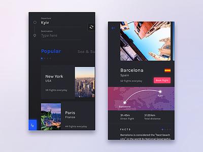 Flight Booking App – Dark dark travel app flight booking android ios clean mobile ui