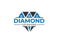 Diamond Exteriors typography minimal logodesign logo design flat vector logo illustration design branding