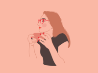 Self-portrait drinking tea