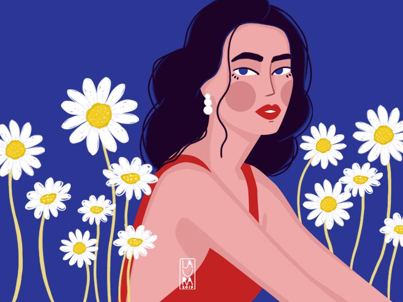 Daisy digitalart womanportrait blue flowers daisies daisy