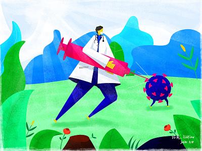 Doctor and virus illustration