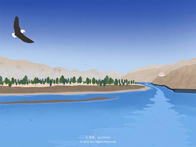Yarlung Zangbo River illustration
