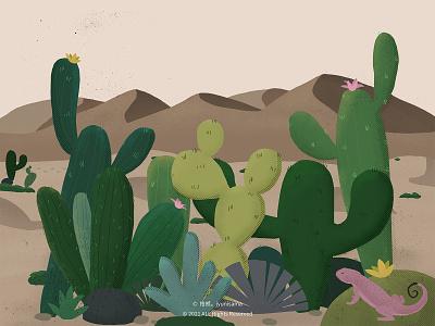 Cactus in the desert illustration