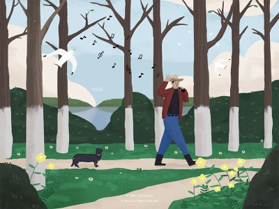Singing in the woods illustration