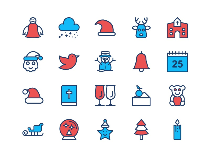 Christmas Freebie Icon Set vector set snowflake year new line illustration icons holiday freebie flat free christmas
