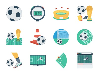 Fifa Football WorldCup Flat Icons worldcup fifa vlc goal stopwatch trophy team icon sport soccer player football ball