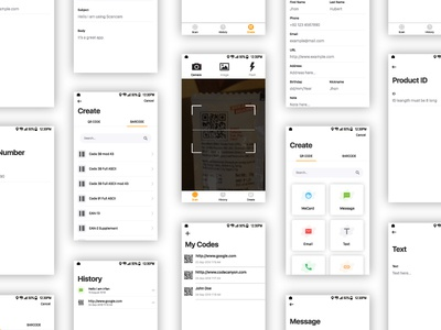 QR and Bar code Scanner qr code generator barcode scanner generator bar code ux ui qr code scanner mobile iphonex android ios camera interaction barcode app