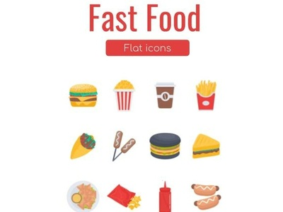 Fast Food Flat Icons android ios flat design ui illustration icons pack icons set fastfood food flaticon flaticons icons