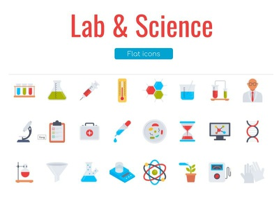 Lab and Science Flat Icons Pack scientists scientific funnel instrument science animation design ios icons vector ui illustration flat