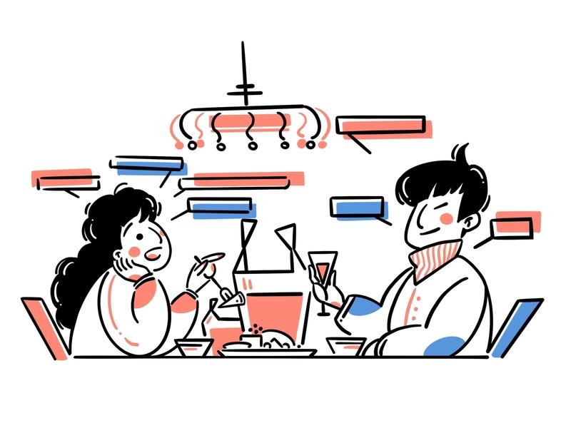 Dine together woman man tableware crystallamp talk delivery illustration design art boy girl food character