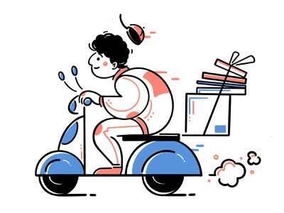 Express delivery takeout scooter people illustration deiver car man batterycart motorbike art design boy food character