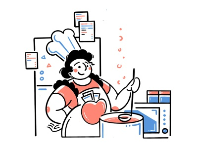 Cooking kitchen cookingutensil kitcherware people illustraion chef woman design girl art character food cook