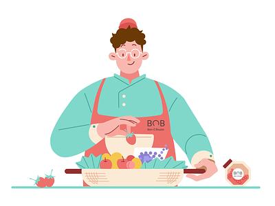 Filled with fruit food art fresh take-out apple strawberry apron fruitbasket fruit people illustration design character man boy