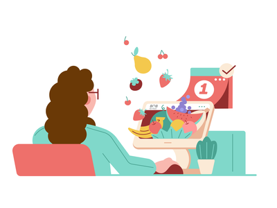 Fruit of the order take-out calendar order pears strawberry banana watermelon fruits apple app computer phone food woman illustration art girl design character fruit