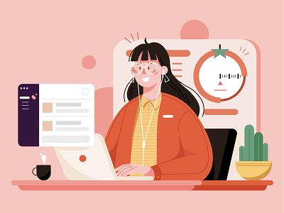 Pomodoro Timer pomodoro pomodoro timer character chart communicate remote meeting telework scrum computer design art illustration people woman girl communication
