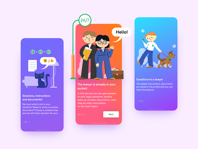 Lawyer in Your Pocket lawyer ux ui design character card mobile list android ios flat illustration