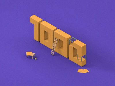 1000 subscribers! 3d art regards thanks subscribers 1000 ux ui pack design 3d illustration