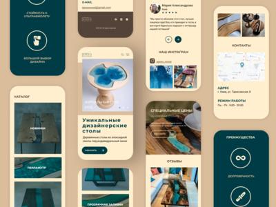 Mobile Adaptive Epoxy Wood web design branding adaptive mobile landing page identity branding furniture webdesign landing ui design