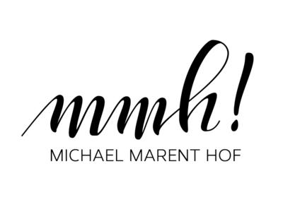 Michael Marent Hof Logo hand lettering typography custom type calligraphy black white contrast logo honey packaging elegant irregular