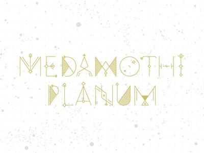 Medamothi Planum hand lettering typography custom type gold space white stars cd cover packaging poster