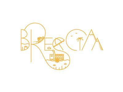 Brescia illustration lettering type summer palm lake mountain car road trip fish umbrella holidays
