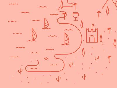 Lake Garda  lettering illustration summer fish holidays lake mountain road trip palm type castle wine