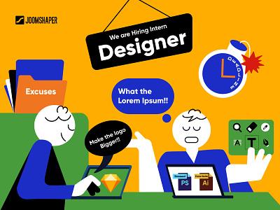 Hiring Creative Designer company idea conceptual ui design apply designer job hiring logo ad ui branding graphic design vector flat icon illustration design art creative