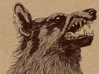 Wolf branding logo wood texture laser cut design illustration