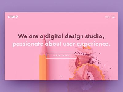SHERPA website homepage hero section homepage studio minimal clean ux typography ui website flat