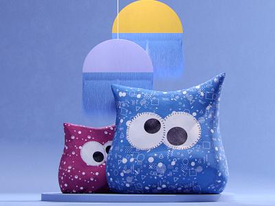 Minimalist 3d Design N°2 pillow minimal branding design houdinifx art redshift redshift3d c4d