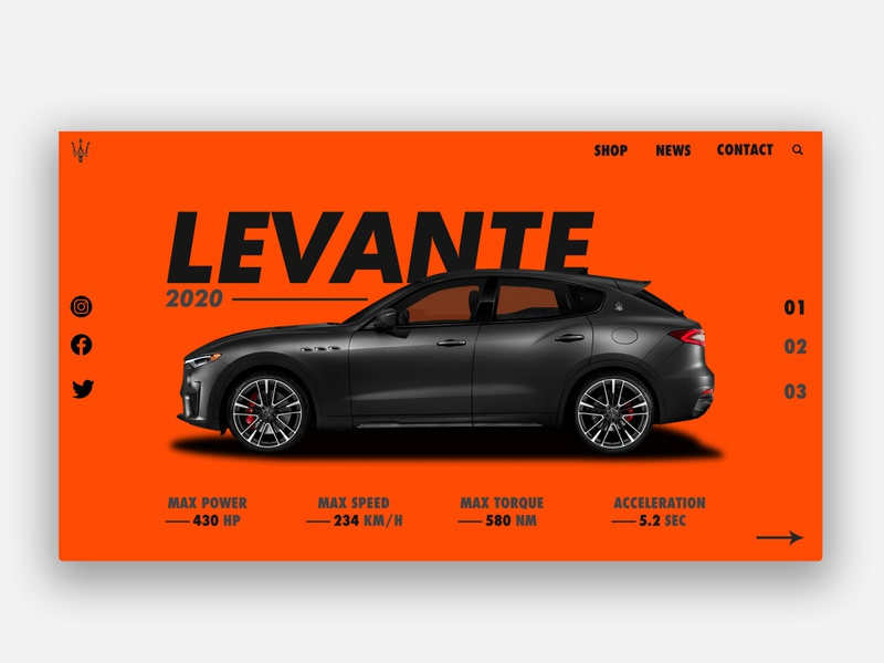 Maserati - Levante colorful web typography illustration dribbble best shot design animation