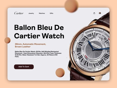 Cartier Product Page typography illustration cart interfacedesign interface web colorful ux ui webui website watch cartier design