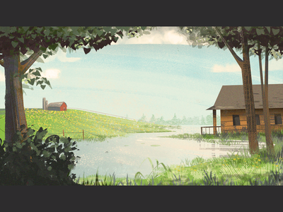 A distant farm illustartion visualdevelopment visualdesign filmic sunshine afternoon cabin village conceptart farm