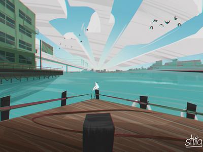 New York Harbor conceptart pleinair nyc harbor illustration seagull