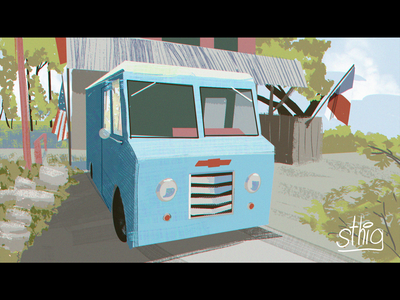A little boxed truck canyonelake southtexas texas visualdevelopment illustration pleinair truck
