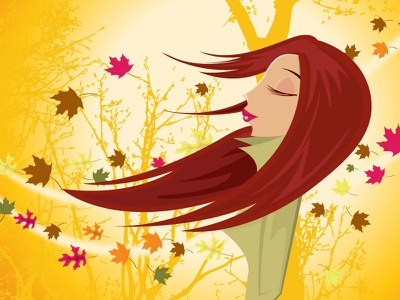 Fall breeze pleasant girl jackets autumn leaves seasons fall