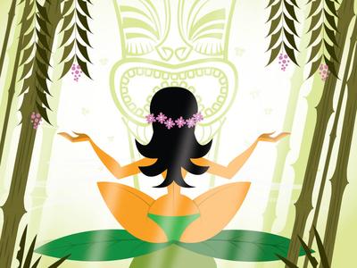 Tiki Yoga feng shui new age stretch statue hula tiki yoga
