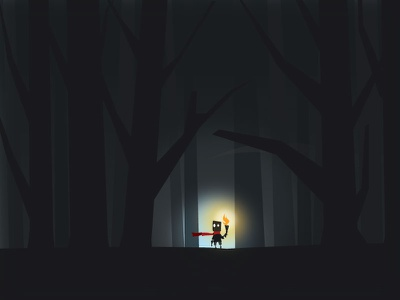 Alone spooky forest woods lost torch fire scared alone