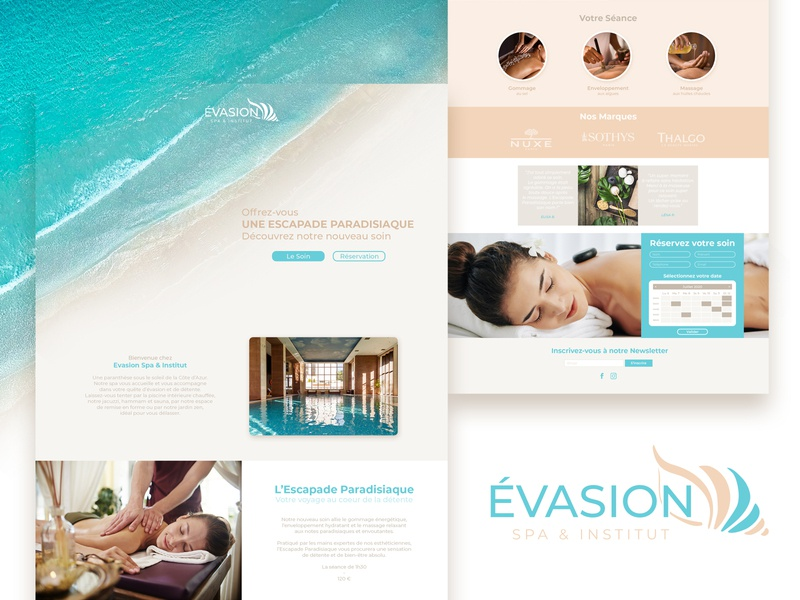 EVASION / Landing Page web call to action branding brand identity spa web design landing page logo escape sea beach massage