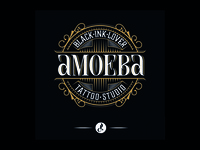 Amoeba Tattoo Shop calligraphy peyi vector pellizo lettering logotype brand logo tattoo studio tattoo amoeba