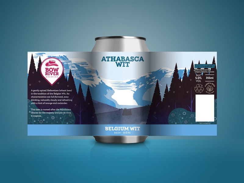 Craft beer can design - Belgian Wit vector landscape glacier beer can packaging design beer label branding illustration