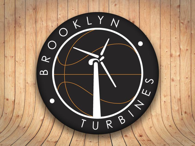 Basketball sport team logo - Brooklyn Turbines brooklyn sport wind turbine new zealand wellington team logo basketball brand identity vector design branding
