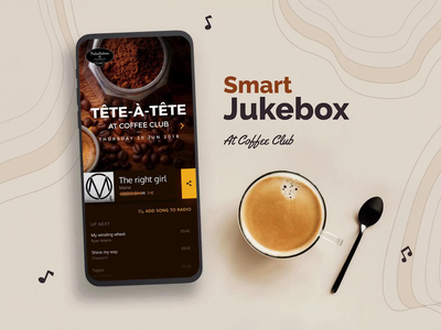 Smart Jukebox party coffee mockup clean design clean ui clean ux design apple music song music player music art music app musician uidesign ui  ux ui ux spotify music jukebox